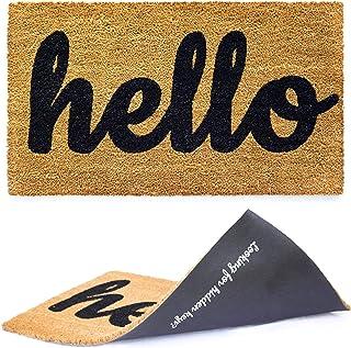 Welcome mat | Hello Door mat for Front Door | Entryway Outdoor Floor mat | Cursive Hello..