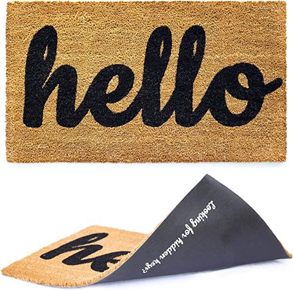 Welcome Mat Hello Door Mat For Front Door Entryway Outdoor Floor Mat Cursive Hello Mat With Fun Looking For Hidden Keys Print On The Back Natural Coconut Coir Brown Mat With Black Font