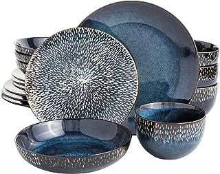 طقم أواني طعام إيليت ماتيسي المزدوج من جيبسون حجري تفاعلي (16 قطعة)، لون أزرق كوبالت