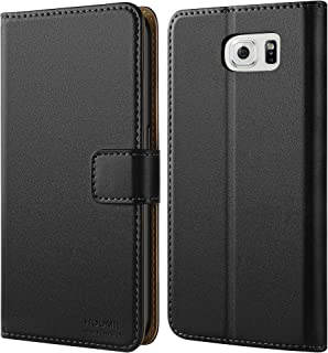 amazon com samsung galaxy s 6 flip cases cases, holstershoomil case compatible with samsung galaxy s6, premium leather flip wallet phone case cover for