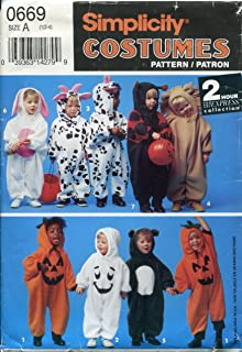 Simplicity Costumes Pattern 0669 ~ Toddler Pumpkin, Cow, Bunny Ladybug, Ghost, Bear, Lion ~ Size A (1/2-4)