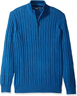 IZOD Men's Premium Essentials Solid Quarter Zip 7 Gauge Cable Knit Sweater