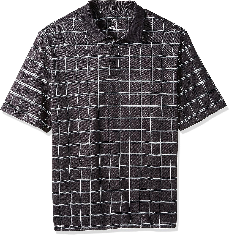 Van Heusen Men's Big and Tall Printed Short Sleeve Windowpane Polo Shirt
