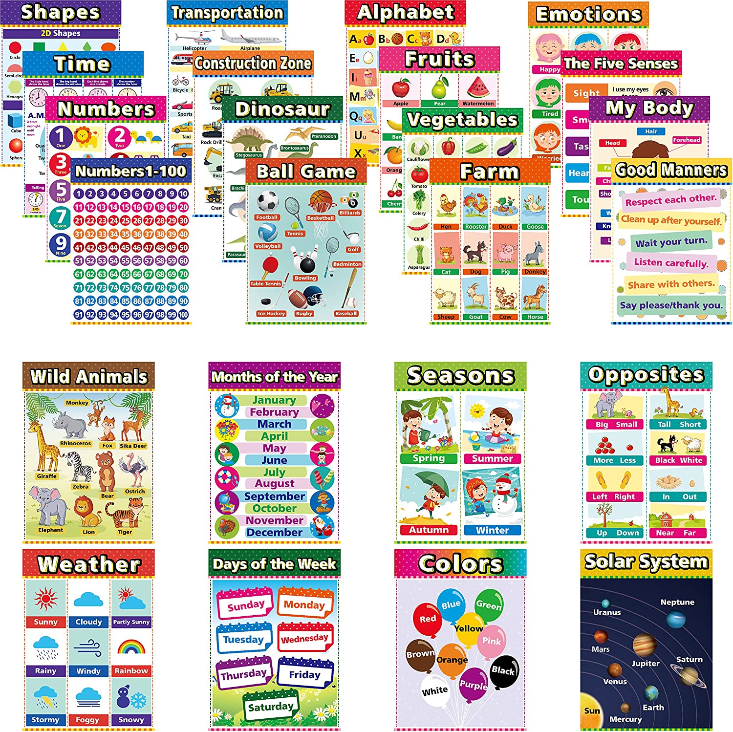 55% Off Coupon – 24 Pieces Educational Posters for Kids Classroom Homeschool