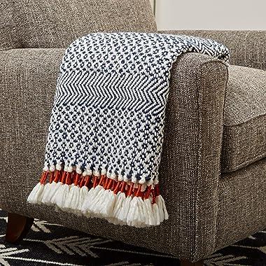 "Amazon Brand – Rivet Modern Hand-Woven Stripe Fringe Throw Blanket, 50"" x 60"", Navy Blue and White with Sienna Orange"