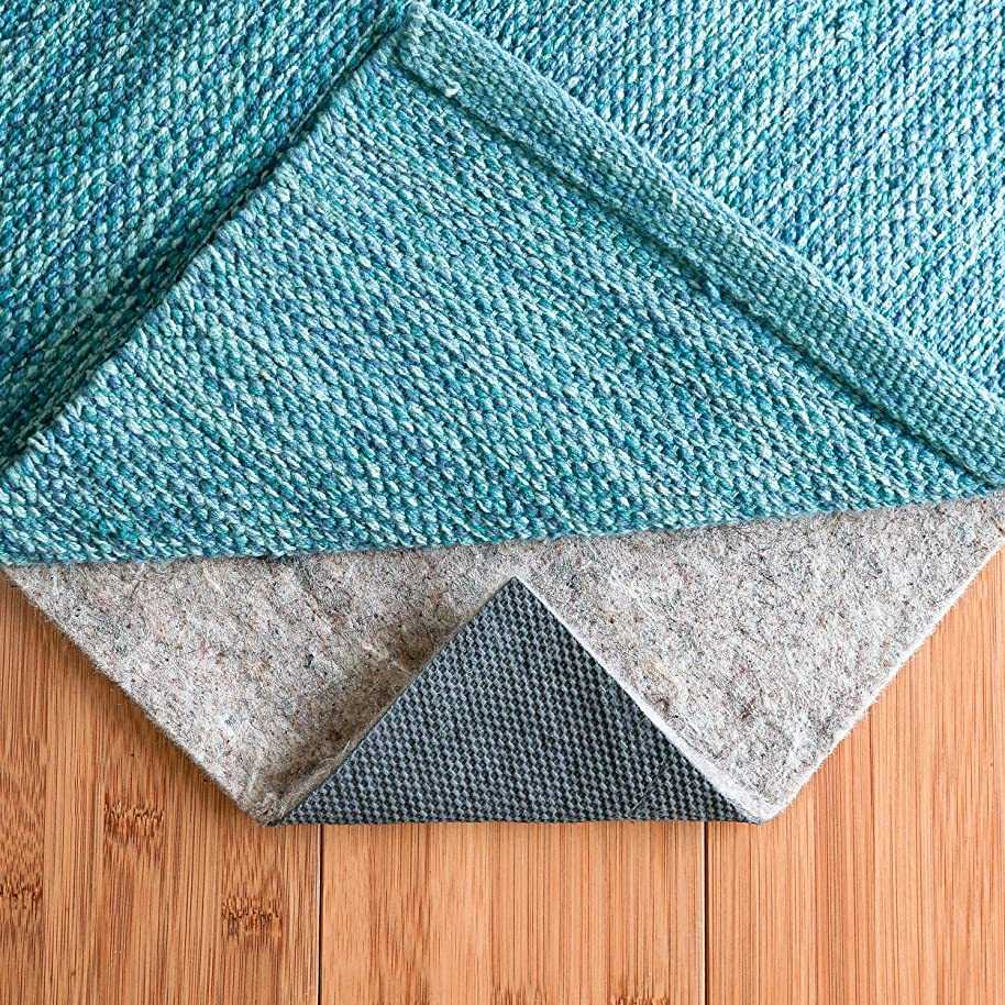 RUGPADUSA, 8' Round, 1/4'' Thick, Basics Felt + Rubber Non Slip Rug Pad, Softens Rugs and Prevents Slipping, Won't Mark or Stain Floor Finishes