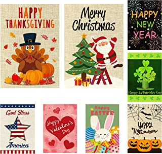 WATINC 8 Pack Seasonal Garden Flags for Happy Halloween Thanksgiving Welcome Fall Winter Merry Christmas New Year Holiday Decorations Double Sided Burlap House Flag for Outdoor Yard 12.4 x 18.2 Inch
