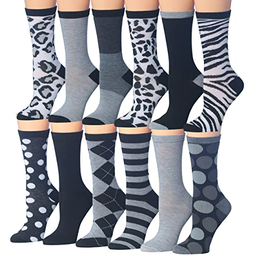 d0ca65d17a6 Tipi Toe Women s 12 Pairs Colorful Patterned Crew Socks