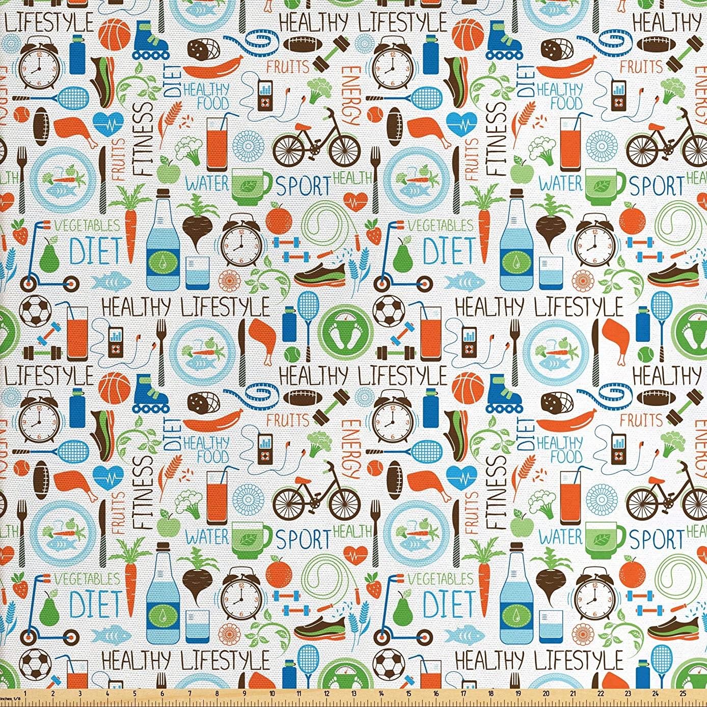 Ambesonne Fitness Fabric The Yard, Sports Diet Balance Nutrition Bicycle Organic Fresh Food Poultry Juice Vitality, Decorative Fabric Upholstery Home Accents, 1 Yard, Multicolor