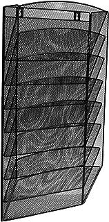 AdirOffice スチールメッシュマガジンウォールラック – 機能的不透明マガジンオーガナイザー – ロビーの受付エリアなどに最適 (8ポケット、ブラック)