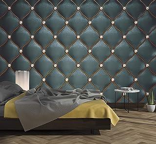murimage Papel Pintado Cuero Negro 274 x 254 cm Incluye Pegamento Fotomurales imitación de piel lujo óptica 3D diamantes b...