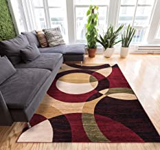Well Woven Casual Modern Styling Shapes and Circles Area Rug 5x7 (5' x 7'2'') Multi Color Red Black Beige Thick and Soft P...