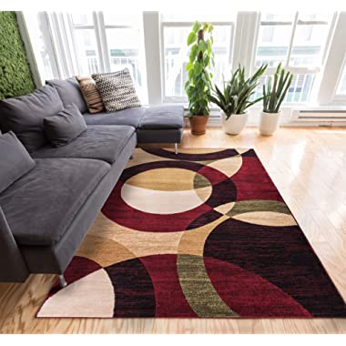 Well Woven Jackpot Multi Color Geometric Circles Modern 8x10 (7'10  x 9'10 ) Mansion Room Area Rug Rings Abstract Boxes Lines Easy Care & Cleaning Shed Free Carpet