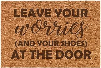 Coir Door Mat Entry Doormat Funny Leave Your Worries and Your Shoes at The Door