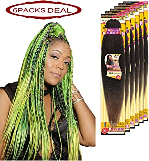 EVE HAIR 100% Kanekalon Afrelle Fiber Professional Jumbo Crochet Braids Braiding Hair Extension Large Length (56 Inches) Pre-Stretched Quick Braid - 85 Grams - Color: 27 (Pack of 6)