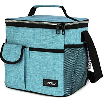 OPUX Lunch Bag Insulated Lunch Box for Women, Men, Kids | Medium Leakproof Lunch Tote Bag for School, Work | Lunch Cooler with Shoulder Strap, Pocket | Fits 20 Cans (Tall Sea Blue)