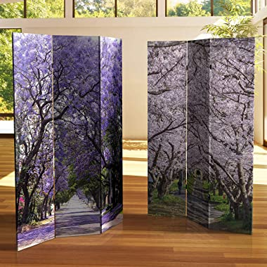 Red Lantern 6 ft. Tall Double Sided Lavender Road Canvas Room Divider,