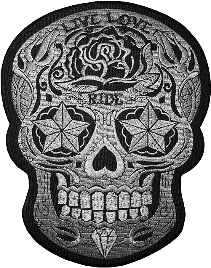 [Large Size] Papapatch Live Love Ride Sugar Candy Skull Head Star Eyes Biker Motorcycle Chopper Jacket Vest Embroidered Sew on Iron on Patch (IRON-LIVE-LOVE-RIDE-SKULL-LARGE)