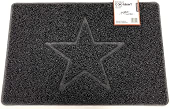 Star Embossed Shape Door Mat Dirt-Trapper Jet-Washable Doormat-(Use Indoor or Sheltered Outdoor)- (60x40cm/23.6x15.7inches...