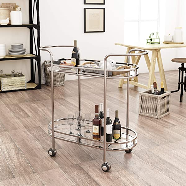 Christopher Knight Home 304465 Michelle Modern Iron And Glass Bar Cart Silver