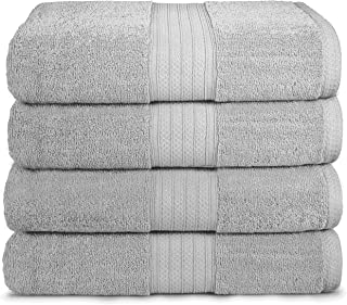 "GLAMBURG 4 Pack Bath Towel Set, 100% Combed Cotton Large Bath Towels, Gym Towels 27""x54"" - 600 GSM Luxury Hotel Quality Ultra Soft Super Absorbent Towels for Bathroom - Mercury Grey"
