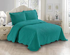 AZORE LINEN Solid Bedspread Quilt Coverlet Bedding Set Embossed with Seamless Daisy Floral Trellis Ornament Pattern - Alli...