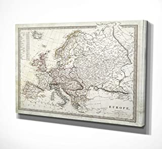 WEXFORD HOME Vintage Map Europe I Gallery Wrapped Canvas Wall Art, 24x32,