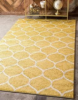 Unique Loom Trellis Frieze Collection Lattice Moroccan Geometric Modern Yellow Area Rug (4' 0 x 6' 0)