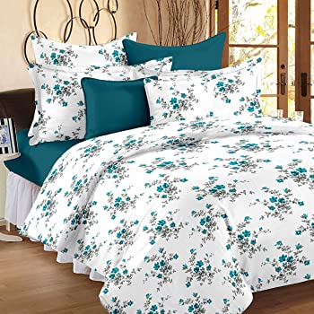 HUESLAND by Ahmedabad Cotton Comfort 144 TC Cotton King Size Bedsheet with 2 Pillow Covers - White and Blue, 9 ft x 9 ft