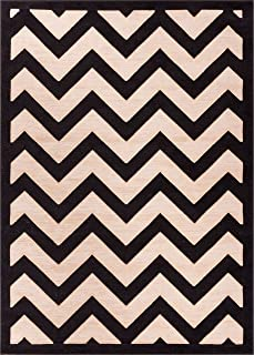Well Woven Stripes Zig Zag Chevron Black and Beige with Shading Effect 20 x 31 (20