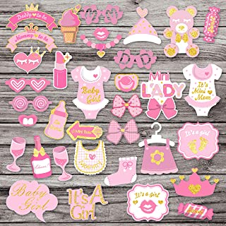 35Pcs Pink Glittering Baby Shower Photo Booth Props for Baby Girl Shower Pink Theme Party Fvors Supplies Great for Lovely Baby, Baby Shower Party