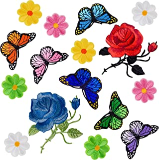 Coopay 16 Pieces Flowers Butterfly Iron on Patches Embroidery Applique Patches for Arts Crafts DIY Decor, Jeans, Jackets, Clothing, Bags