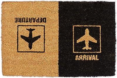 Relaxdays Doormat Coconut Arrival Departure Door Mat with Aeroplane Motif, Indoor and Outdoor Use, 40 x 60 cm, Natural/Black, 1 Item