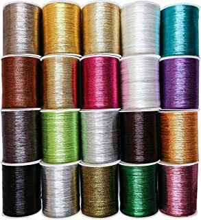 Metallic Thread (20 Pack) - 55 Yards per Spool of Embroidery Polyester Thread Set in Assorted Colors for Embroidery