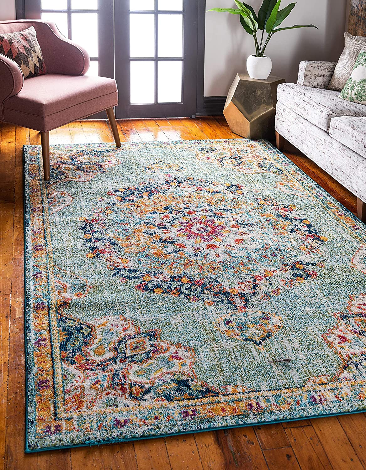 Unique Loom Penrose Collection Be super welcome Vintage Gorgeous Distressed Traditional Ar