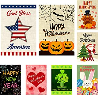 WATINC 8 Pack Seasonal Garden Flags for Happy St. Patrick`s Day Welcome Easter Holiday Decorations Double Sided Burlap House Flag for Outdoor Yard 12.4 x 18.2 Inch