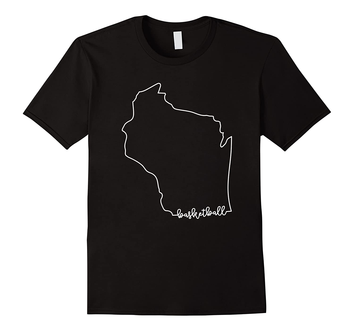 State Of Wisconsin Outline With Basketball Script Acj299b T-shirt