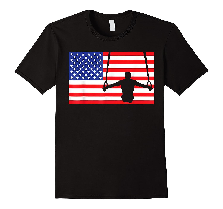 Gymnastics Rings Usa American Flag Gymnast 4th Of July T-shirt