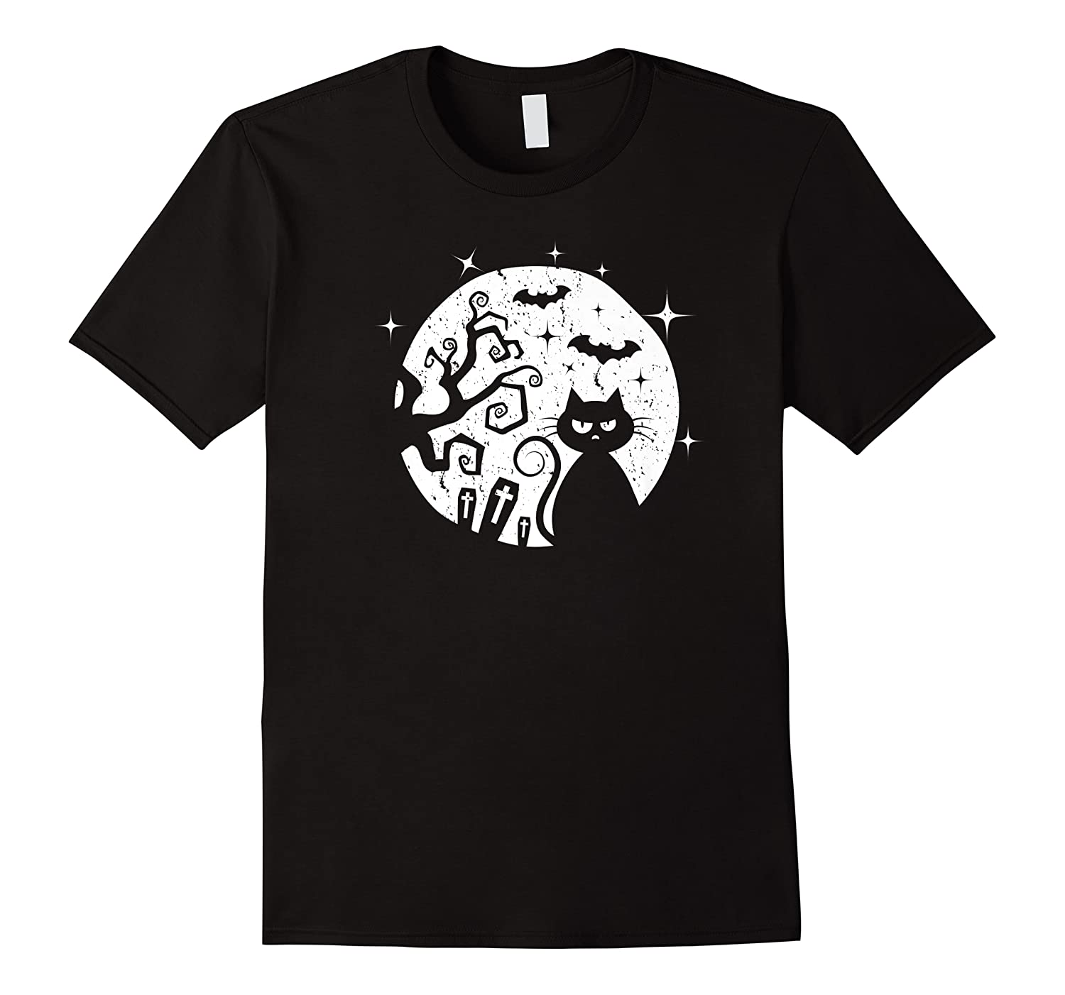Black Cat Halloween Moon And Tree Funny Party Gift Shirts