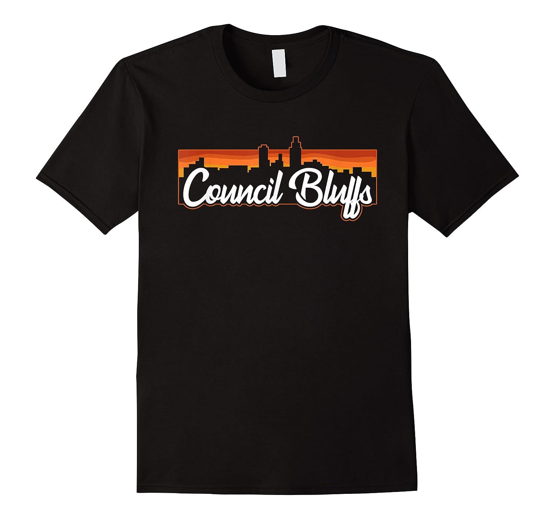Vintage Style Retro Council Bluffs Iowa Sunset Skyline Shirts