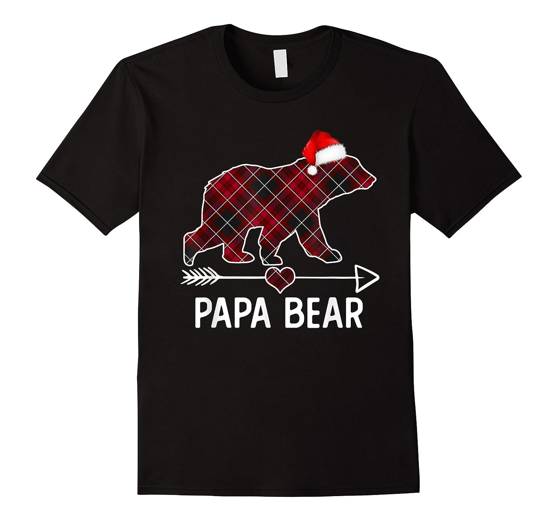Papa Bear Christmas Pajama Red Plaid Buffalo Matching Family T-shirt