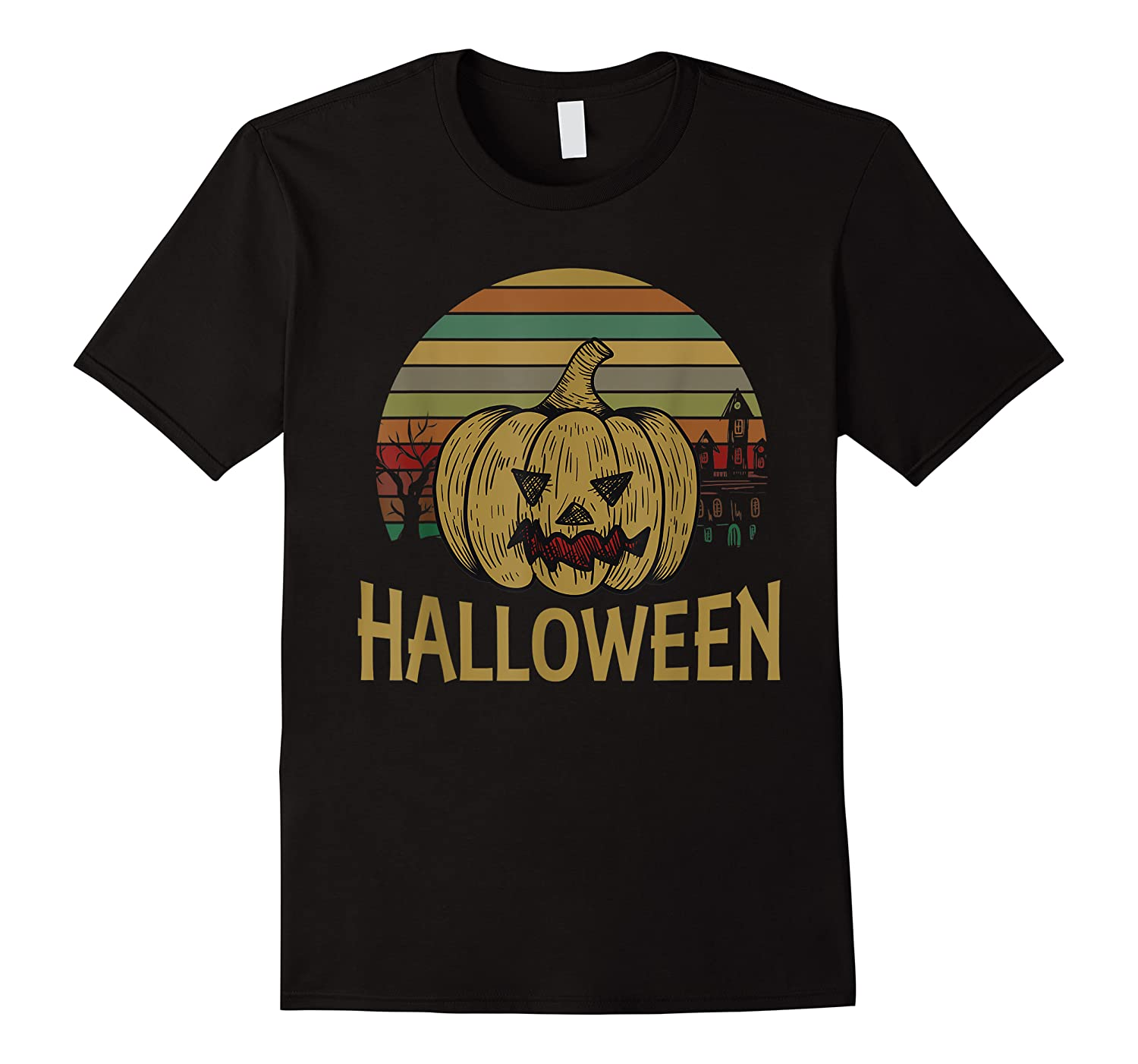 Funny Halloween Pumpkin Vintage With Castle, Costume Gift Shirts