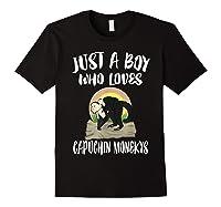 Just A Boy Who Loves Capuchin Monkeys T-shirt Black