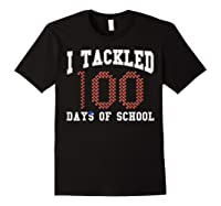 Funny Football 100th Day Of School Sports Out Tea Shirts Black