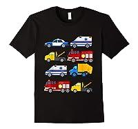 Emergency Vehicles Fire Truck Police Car Ambulance Tow Truck Shirts Black