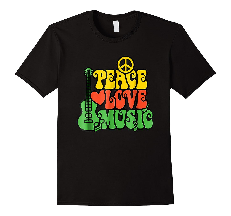 Peace Love Music Reggae Guitar T-shirt For Everyone