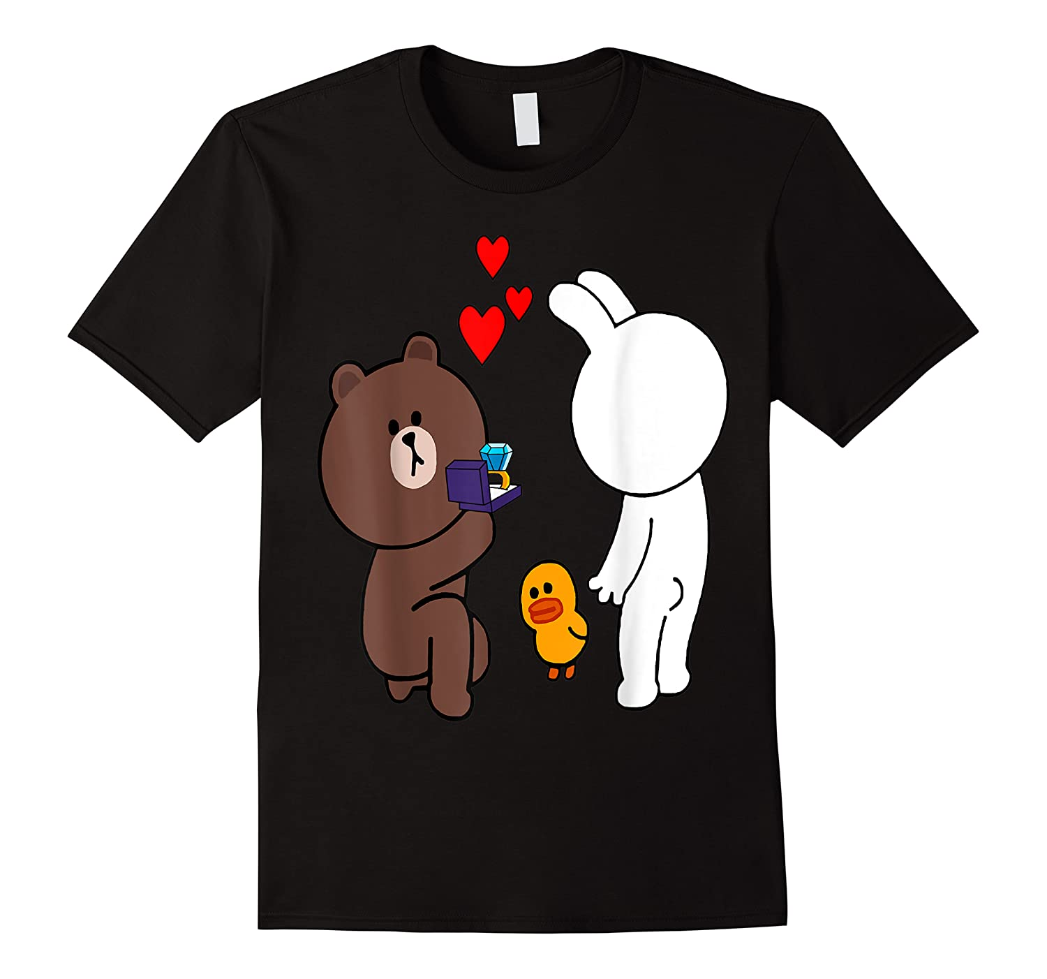 Brown Bear Cony Bunny Rabbit Engaget Ring Marriage Fiance Shirts