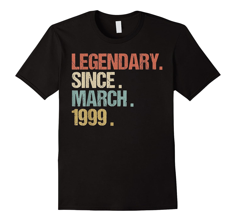 21st Birthday Gift Legendary Since March 1999 Shirt Retro T-shirt