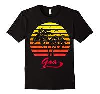 Goa 80s Summer Beach Palm Tree Sunset Shirts Black