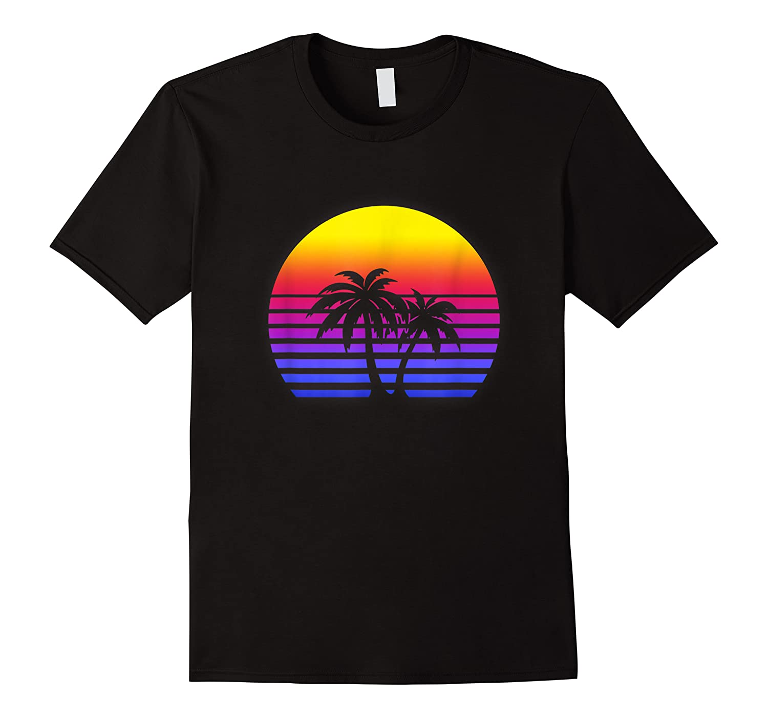 Synthwave Sun Palm Tree 80s Retrowave Aesthetic Outrun Shirts